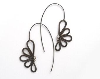 Black Earring for Women, Black Earring, Black CZ Earring, Black Threader Earring, Dangle Earring, Unique Earring, Statement Earring