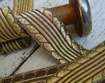 Vintage Metallic Gold French Vestment Trim, one yard with more available