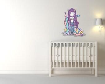 Colourful Mermaid Nursery Wall Sticker