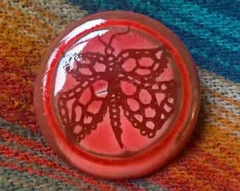 Handmade Ceramic Button Size L - red glazed bug beetle pattern