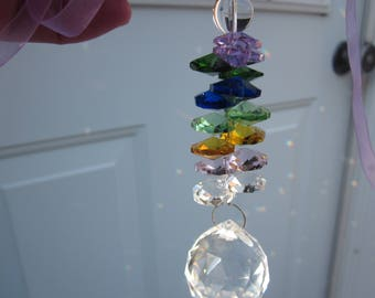 Celebrating 5 years Seller on Etsy! FREE Shipping! SUNCATCHER Big faceted Ball & Multicolor disk of Swarovski CRYSTAL!