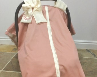 Car Seat Canopy and Car Seat Cover in Dusty Pink and Cream - Gift Set