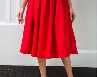 Red midi skirt / Spring skirt Autumn red skirt Summer skirt for women / casual skirt / skirt Cocktail Party / office business woman