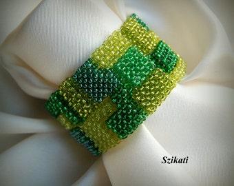 Beaded Green Bracelet, Statement Beadwoven Seed Bead Cuff Bracelet, Beadwork, RAW, Fashion Jewelry, Women's Accessory, Gift for Her, OOAK