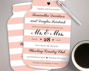 10 Mason Jar Wedding Invitations Mason Jar shaped cards