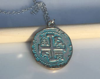 Gold Relic || Coin Charm Necklace || Green Verdigris || Patina Gold Plated || Double Sided || Sterling
