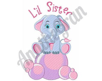 Elephant On Bubbles - Machine Embroidery Design, L'il Sister