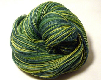 Handdyed Merino Wool Lace Yarn - Forest Greens - green, leaf, spruce, evergreen