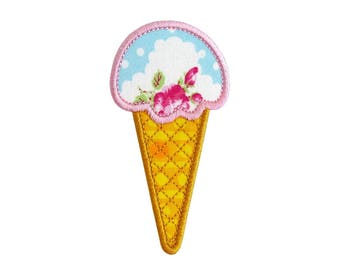 """Ice Cream Single Cone Machine Embroidery Design Applique Patterns in 5 sizes 4"""", 5"""", 6"""", 7"""" and 8"""""""