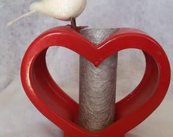 red heart ceramic bird vase