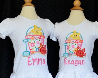 Personalized Floral Sand Beach Pail Bucket Starfish Crab Shovel Applique Shirt or Bodysuit Girl
