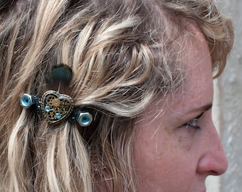 STEAMPUNK HEART Valentines HAIRCLIPS  x2 with heart shaped watch parts set in resin, feathers, nuts and bolts gold and turquoise