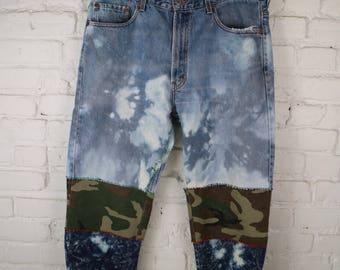 Vintage Levis customized grimjob camo joggers sz 34 punk metal custom denim jogging pants camouflage