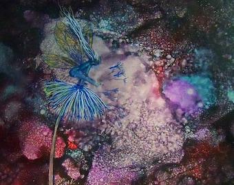 original art alcohol ink on metal panel fairy on dandelion 5x7 iridescent