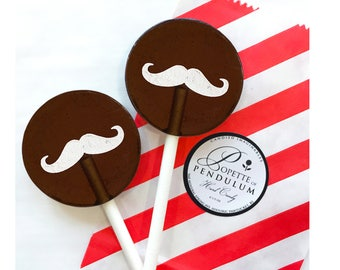 Wedding Favors, Party Favors, Bridal Shower, Baby Shower, Birthday Candy - Root Beer Mustache - 8 Lollipops with Ribbon