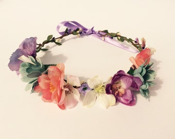 MAUVE - Flowercrown, Frida Kahlo inspired floral headpiece, Wedding hair accessories, headband, Bridal headpiece