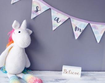 Personalised Baby Gift / Rainbow cloud bunting/ Nursery Bunting / personalised bunting / name bunting / handmade bunting