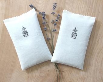 Modern Lavender Sachets, Handprinted Pineapples, Tropical Decor, Luau Bridal Shower, Summer Party Gift