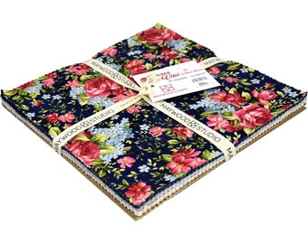 "SALE! Roses on the Vine 10"" Precut Quilt Squares - Fabric Layer Cake by Maywood Studio - 42 Pieces - 100% Cotton - Floral, Flowers, Navy"