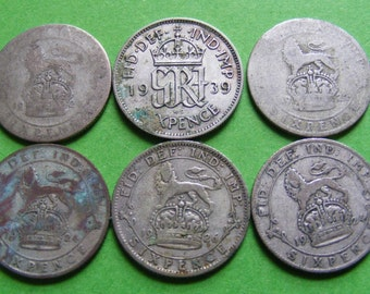 Six Vintage Silver Sixpence Wedding Coins Authentic Original