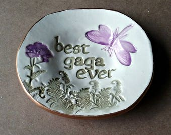 Ceramic GAGA Trinket Bowl Jewelry Dish Ring Dish edged in gold