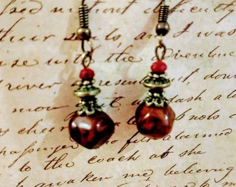 Burgundy earrings