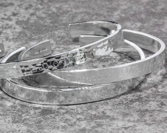 Sterling Silver Chunky Engraved Cuff Bangle
