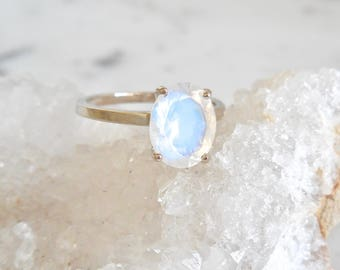 Moonstone Ring - Moonstone Engagement Ring, Oval Moonstone Ring, June Birthstone, Rainbow Moonstone, Blue Moon, 10 x 8 Oval Moonstone