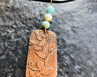 Hand etched copper pendant with Amazonite beads