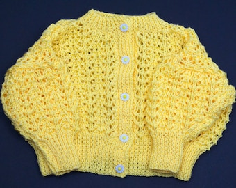 Girls Round Neck Cardigan with Daisy Flower Buttons