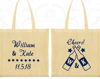 Cheers Wedding Bags, Wedding Favor Tote, Monogrammed Bags, Monogram Bags, Personalized Tote (269)