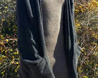 Made to order -oversized alpaca or organic merino wool cardigan sweater
