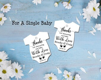 DIY Instant download onesie tags thank you for showering our baby shower tags shirt favor baby shower editable printable PDF