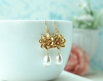 Lotus and Pearls Earrings Gold Lotus Flower Earrings Water Lotus Earrings Teardrop Pearls Dangle Earring Water Lily Earring Bridesmaids Gift