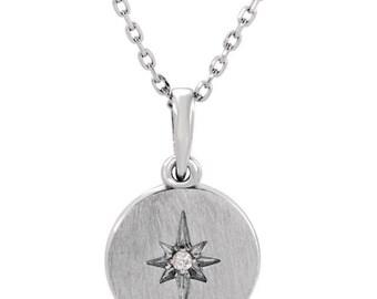 Sterling Silver Diamond Starburst Necklace