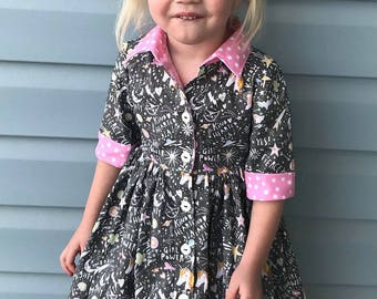 Girls Shirt Waist Dress - Girls Casual Dress - Girls All Season Dress, - Girl Power Dress