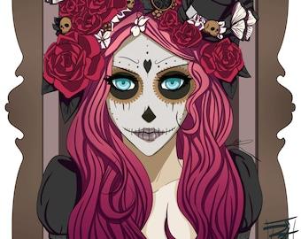 "Day of the Dead Art Print - 8""x10"" or 11x14"" - Dia de los Muertos art - original anime manga girl art - Bianca Loran Art"