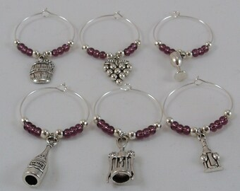 6 Piece Wine Glass Charms, Wine themed