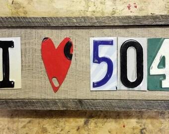 "I ""heart"" 504 - Small License Plate Art. NewOrleans"