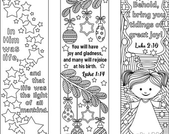 Set Of 9 Printable Christmas Coloring Bookmarks 6 Designs With Bible Verses And 3 Without Texts