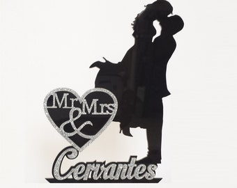 Wedding Cake Topper Silhouette with Name and Mr & Mrs overlaid in Glitter, with a FREE Keepsake Display Base! Acrylic Cake Topper [CT3wg]