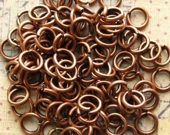 6mm Antique Copper Jump Rings - 100 Pieces - 6mm Copper Plated Brass Jump Rings, 6mm Copper Links, 6mm Copper O Rings, Non-Tarnish (GFD0024)