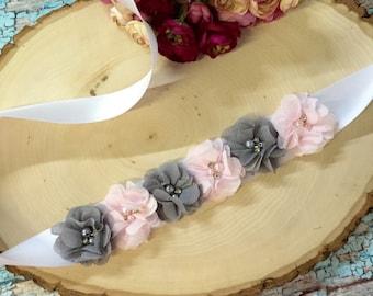 Blush Pink and grey  bridal sash , wedding sash , flowergirl sash , maternity sash , wedding , sash , bride