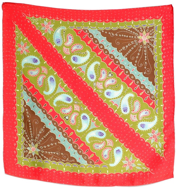 Paisley design hand painted silk scarf square fashion neck scarf