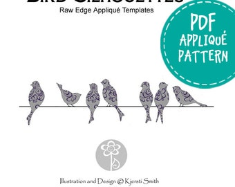 Bird Silhouettes - Downloadable Raw Edge Appliqué Pattern