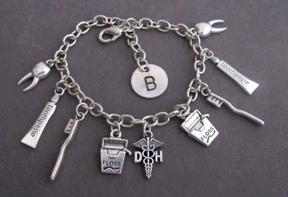 Personalized Dental Theme Charm Bracelet,Dental Charm Chain Bracelet,Dental Hygienist Bracelet,Dentist Gift,Dental Jewelry,Free Shipping USA
