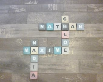 Letter giant scrabble wood patina, pastel, wall decoration, modern, design