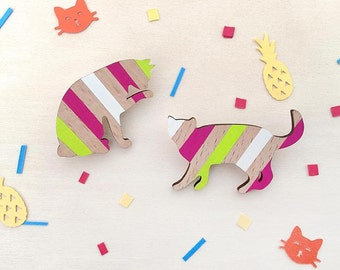 Wooden cat brooch - Watermelon stripes hand painted on eco-friendly beech wood
