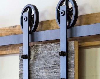 6.6 ft, HK14 Sliding Barn Door Hardware Kit, Straight Hangers, Big Industrial Wheel