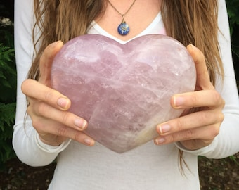HUGE rose quartz heart, quartz Heart, protection stone, healing stone, love stone